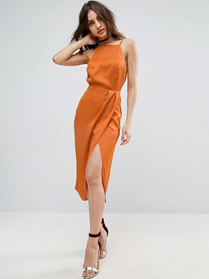 ASOS Drape Front Delicate Back Midi Dress