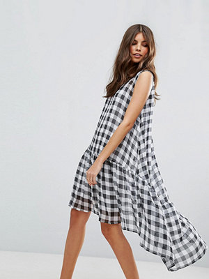 ASOS Gingham Trapeze Smock Dress with Dipped Hem