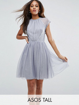 Asos Tall PREMIUM Lace Tulle Mini Prom Dress