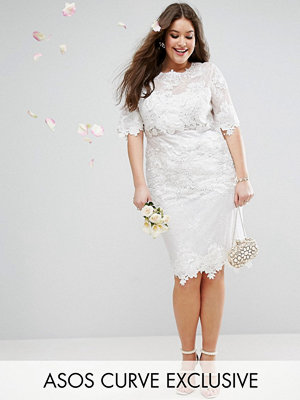ASOS Curve ASOS EDITION Curve Lace Embroidered Midi Wedding Dress