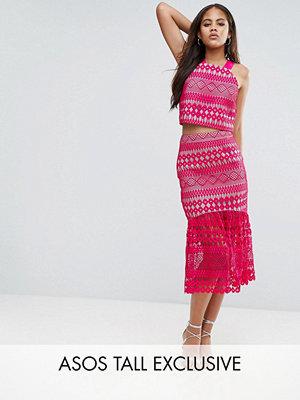 Asos Tall Premium Högtidskjol i midimodell i spets med pepfåll