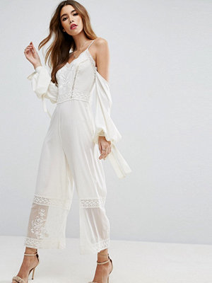 ASOS Jumpsuit with Cold Shoulder and Premium Embroidery