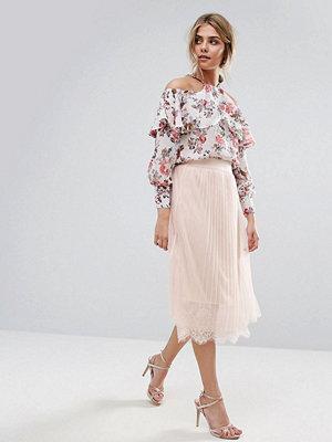 Kjolar - Boohoo Pleated Tulle And Lace Midi Skirt