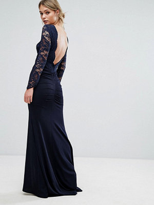 TFNC Lace Fishtail Maxi Dress With Low Scallop Back