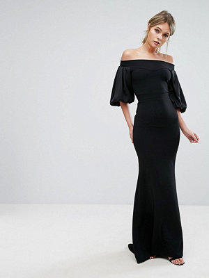 TFNC Off Shoulder Fishtail Maxi Dress With Blouson Sleeve