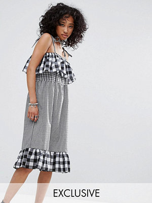 Milk It Vintage Strappy Dress In Mix And Match Gingham
