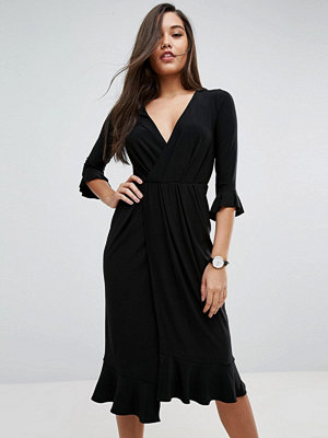 ASOS Wrap Front Midi Dress With Frill Detail