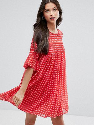 ASOS Petite Gingham Smock Dress with Shirring Detail
