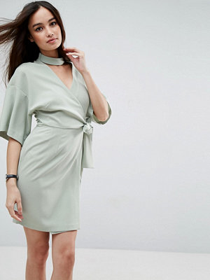 ASOS Wrap Mini Dress with Choker Detail - Sage green