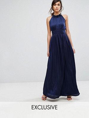 Little Mistress Frill Halter Neck Maxi Dress