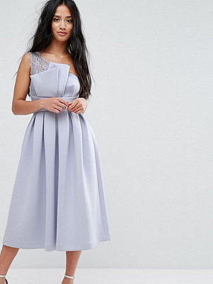 ASOS Petite PREMIUM One Shoulder Lace Scuba Midi Prom Dress