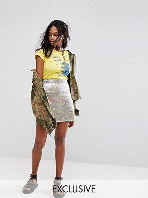 Reclaimed Vintage Inspired Mini Skirt With Raw Hem In Brocade