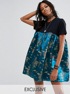 Reclaimed Vintage Inspired T-Shirt Dress With Brocade Panel
