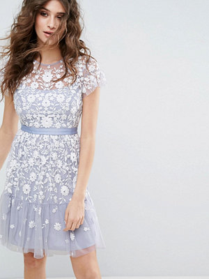 Needle & Thread Meadow Embroidered Tulle Dress - Dust blue/ecru