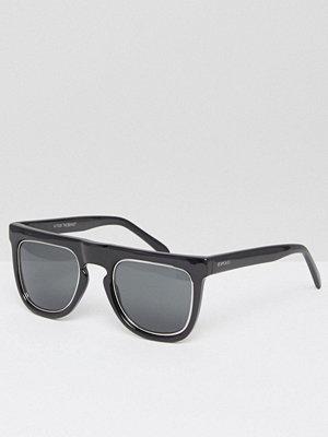 Solglasögon - Komono Bennet Flat Brow Sunglasses in Black