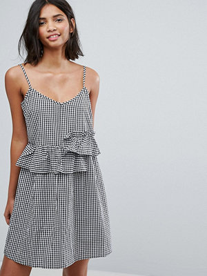Lost Ink Mini Dress With Frills In Gingham
