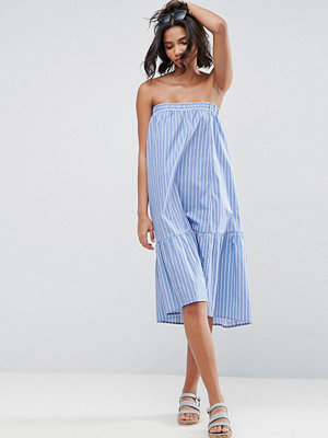 ASOS Bandeau Dress in Cotton Stripe with Tiered Hem