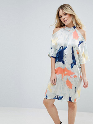 Liquorish Satin Cold Shoulder Print Dress