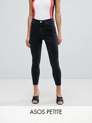 ASOS Petite Ridley Svarta skinny jeans med hög midja