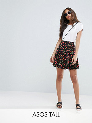 Kjolar - Asos Tall Skater Skirt With Pockets In Floral Rose Print