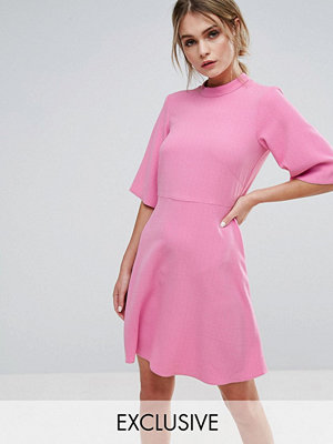 Closet London Swing Dress with High Neck - Candy pink