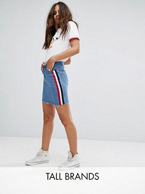 Kjolar - Daisy Street Tall Side Stripe Denim Skirt