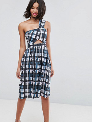 ASOS Gingham One Shoulder Dress with Cut Outs