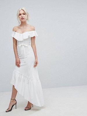 Club L Frill Detail Bardot Dress With Assymetric Hem