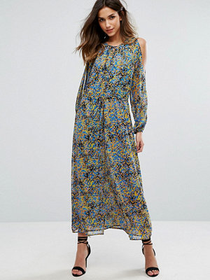 Warehouse Ditsy Floral Metallic Print Maxi Dress