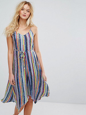 Warehouse Multi Stripe Tie Waist Hanky Hem Cami Dress