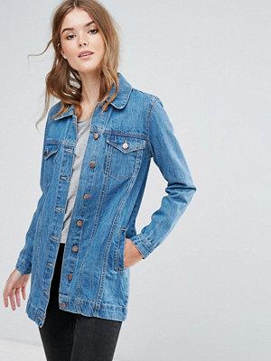 Brave Soul Acer Longline Denim Jacket - 1 x mid blue
