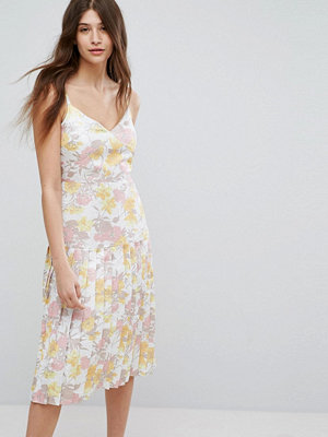 Warehouse Floral Metallic Jacquard Strappy Dress