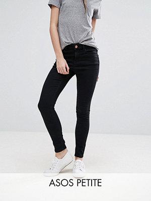 ASOS Petite Ridley Skinny jeans med hög midja i svart
