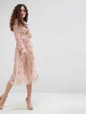 Needle & Thread Floral Embellished Long Sleeve Dress with Tie Neck