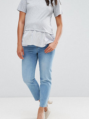 ASOS Maternity FLORENCE Authentic Straight Leg Jeans in Cambridge Light Mid Wash with Under the Bump Waistband - Li