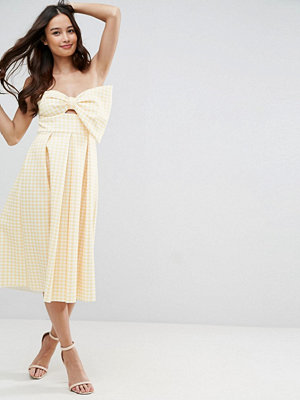 ASOS Scuba Gingham Bow Front Midi Prom Dress
