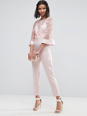 Jumpsuits & playsuits - ASOS Jumpsuit with Lace Bodice and Contrast Satin Trouser