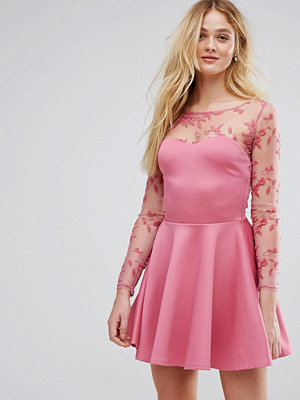 City Goddess Lace Skater Dress - Dusky pink (78)