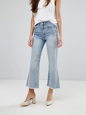 Warehouse Bleached Cropped Flare Jeans
