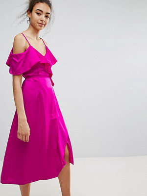 Warehouse Occasion Ruffle Wrap Dress