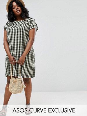 ASOS Curve Gingham Frill Shift Dress