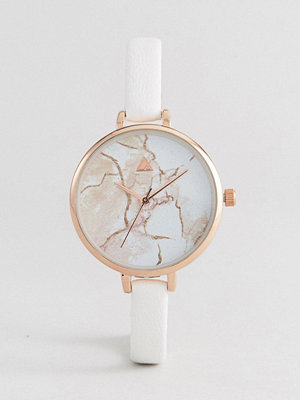 Klockor - ASOS Curve Large Face Skinny Strap Marble Watch