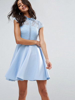 ASOS High Neck Mini Skater Dress With Lace Top - Powder blue