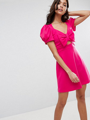 ASOS Mini Skater Dress with Bow Detail and Puff Sleeves - Hot pink