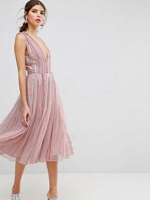ASOS Edition ASOS SALON Sequin Mesh Fit and Flare Midi Dress