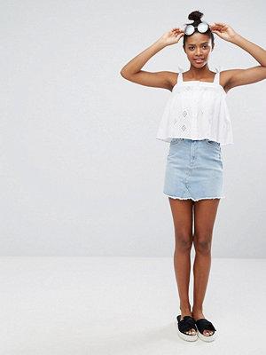 Monki Fray Hem Denim Skirt