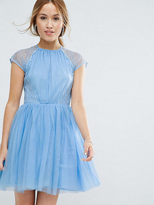 ASOS Petite PREMIUM Lace Tulle Mini Prom Dress - Sugar blue