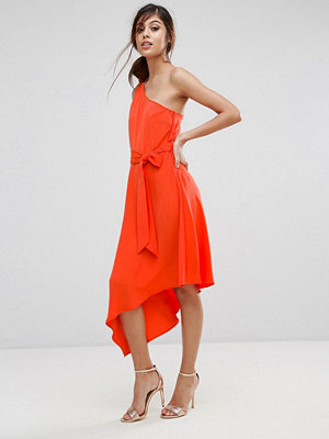 Warehouse One Shoulder Tie Waist Asymmetric Hem Midi Dress
