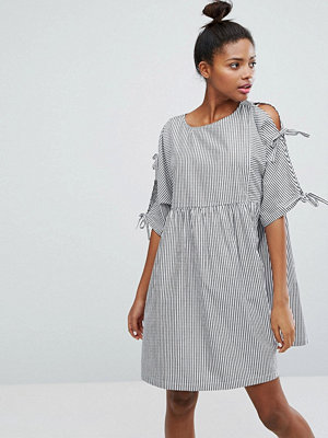 Monki Stripe Tie Sleeve Smock Dress