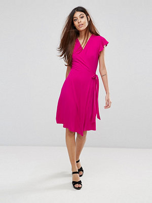 Warehouse Short Sleeve Wrap Front Dress
